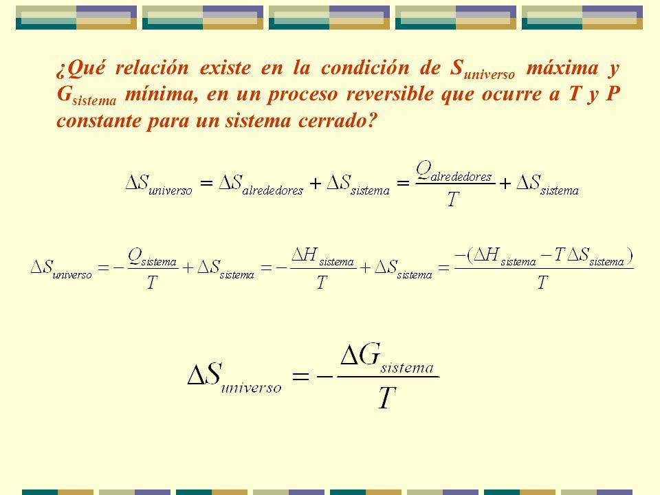 ¿Qué relación existe en la condición de Suniverso máxima y Gsistema mínima, en un proceso reversible que ocurre a T y P constante para un sistema cerrado