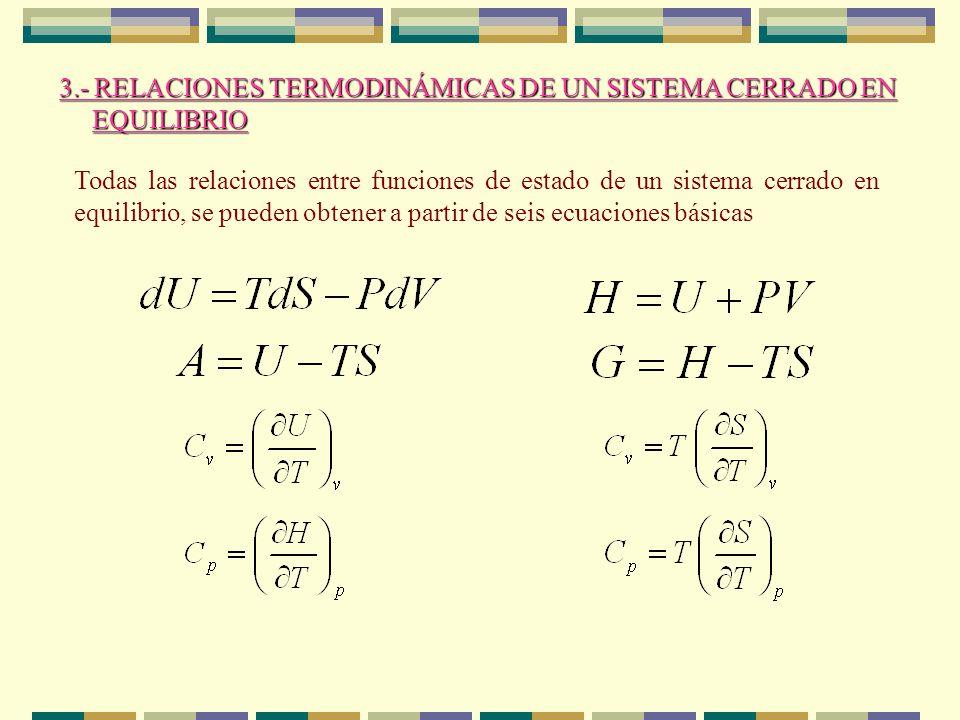 3.- RELACIONES TERMODINÁMICAS DE UN SISTEMA CERRADO EN