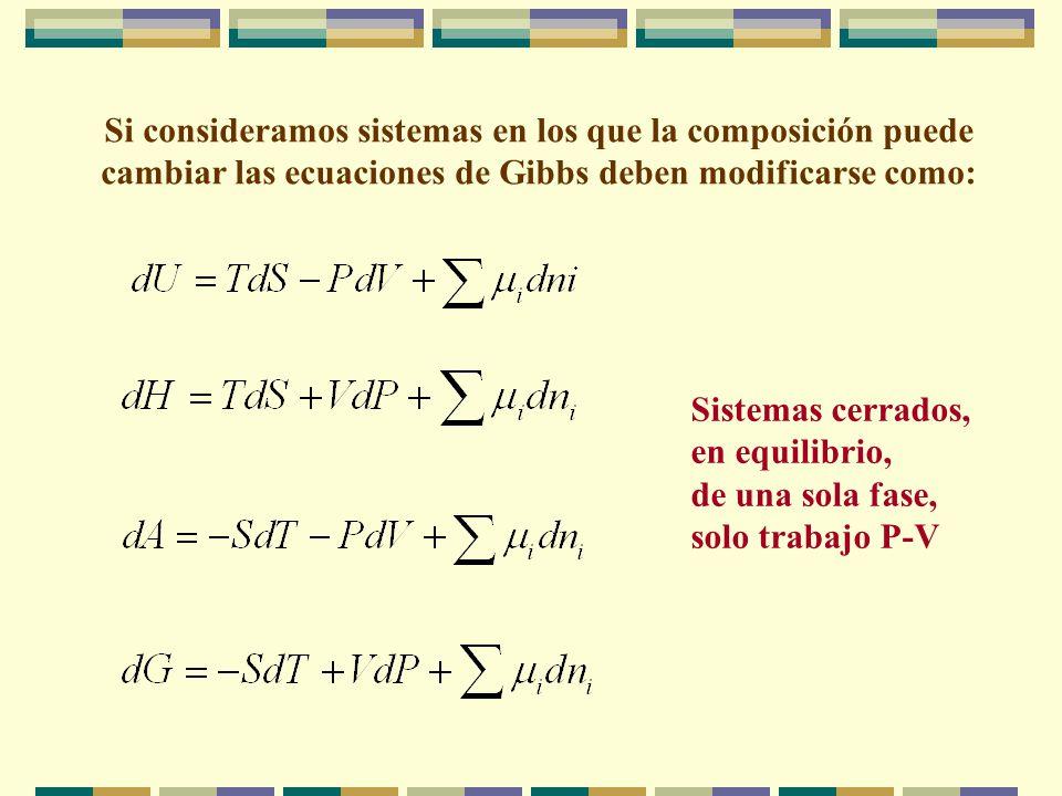 Si consideramos sistemas en los que la composición puede cambiar las ecuaciones de Gibbs deben modificarse como: