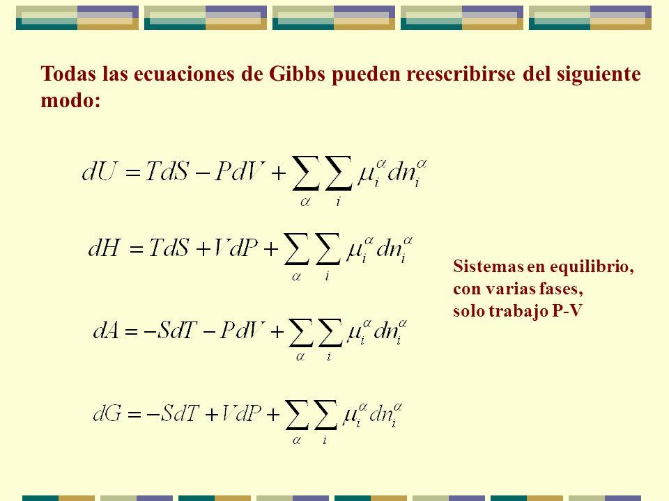 Todas las ecuaciones de Gibbs pueden reescribirse del siguiente modo: