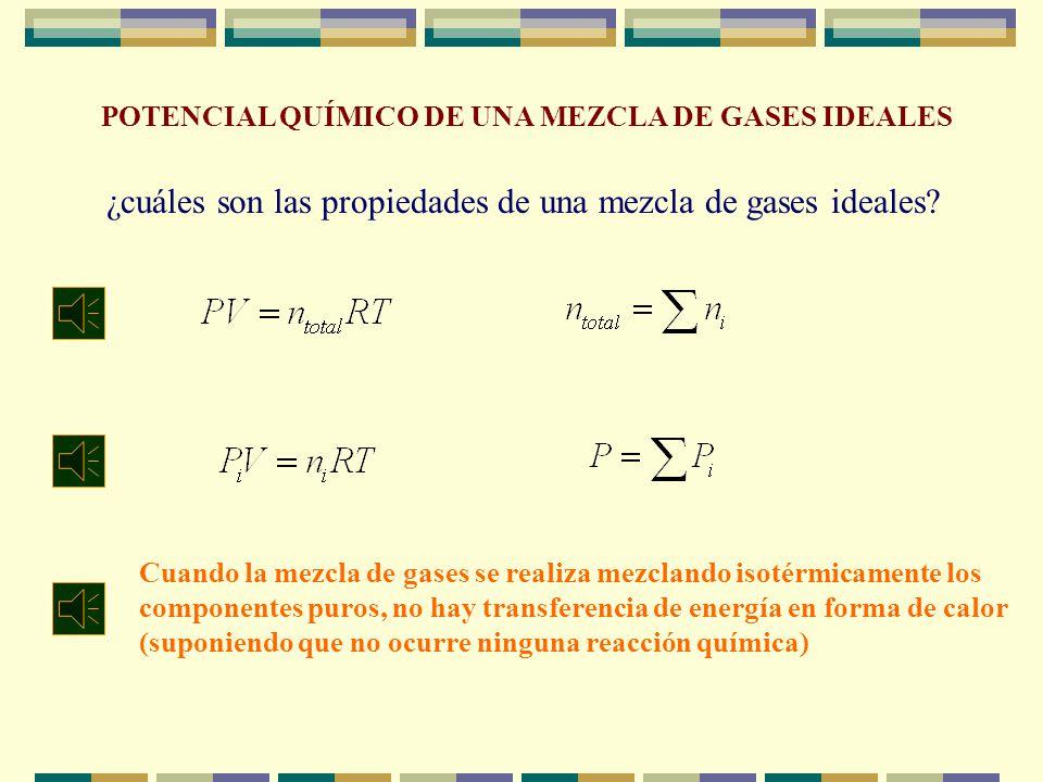 ¿cuáles son las propiedades de una mezcla de gases ideales