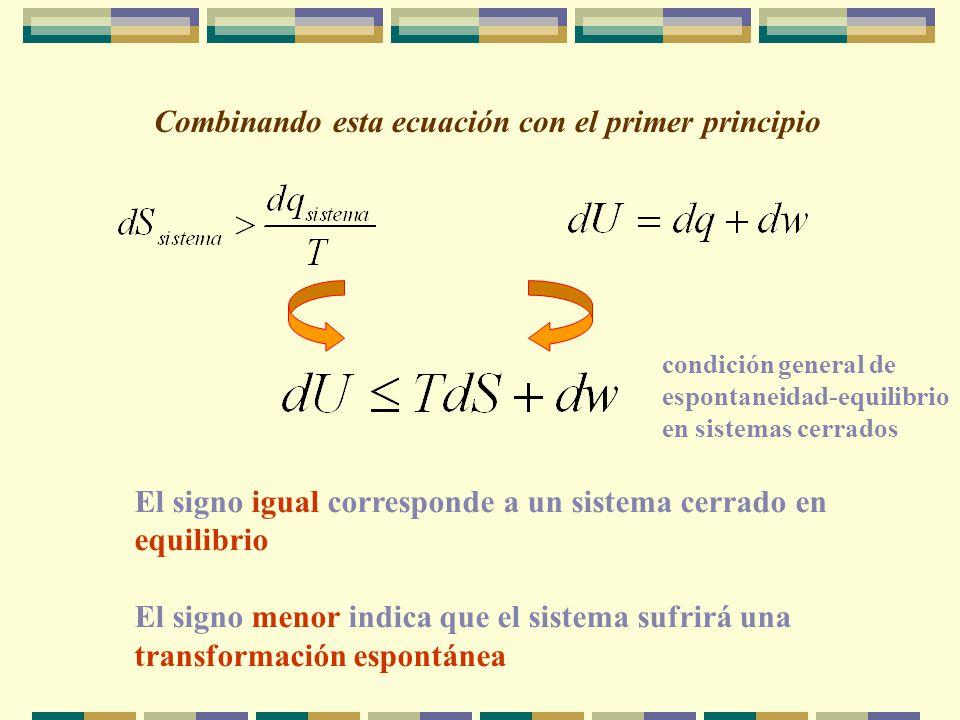 Combinando esta ecuación con el primer principio