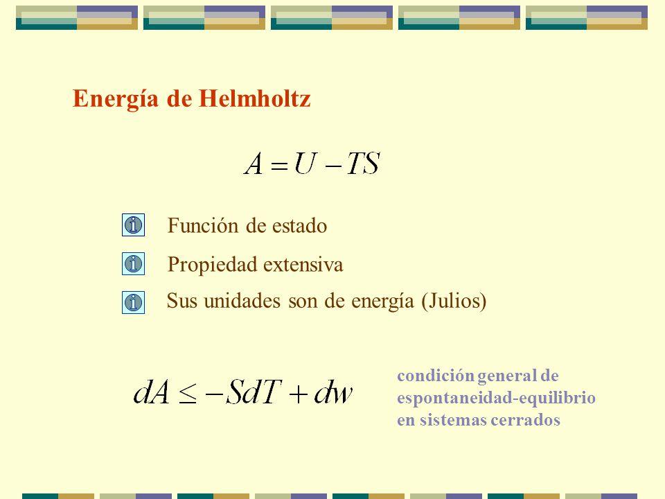 Energía de Helmholtz Función de estado Propiedad extensiva