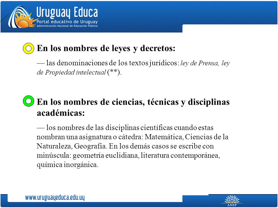 En los nombres de leyes y decretos: