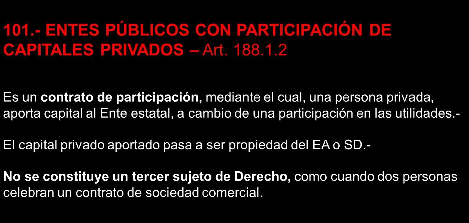 101. - ENTES PÚBLICOS CON PARTICIPACIÓN DE CAPITALES PRIVADOS – Art