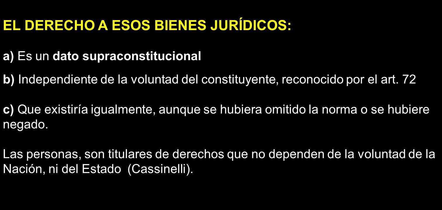 EL DERECHO A ESOS BIENES JURÍDICOS: