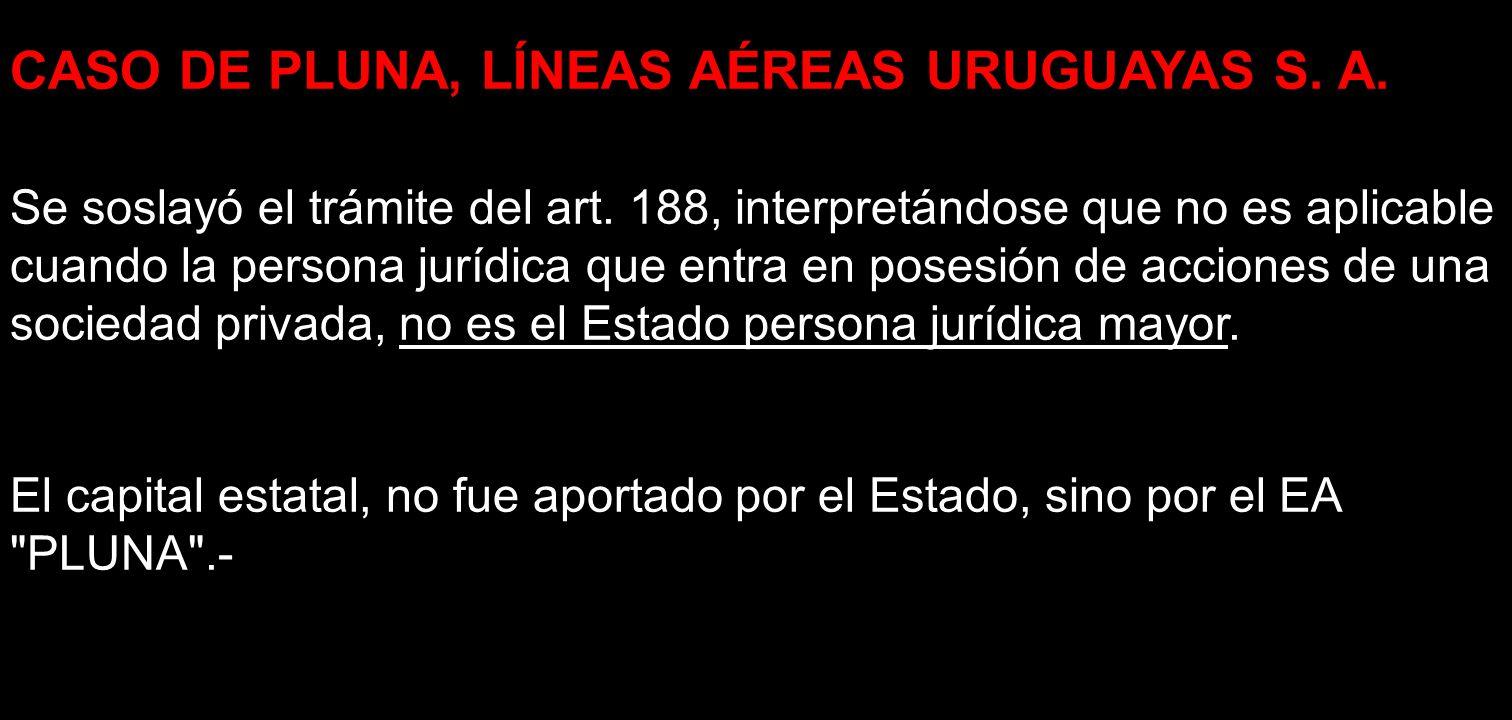 CASO DE PLUNA, LÍNEAS AÉREAS URUGUAYAS S. A.