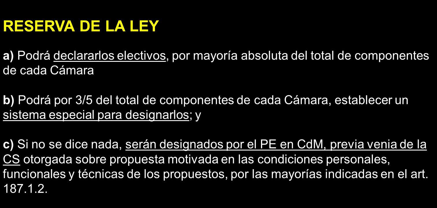 RESERVA DE LA LEY a) Podrá declararlos electivos, por mayoría absoluta del total de componentes de cada Cámara.
