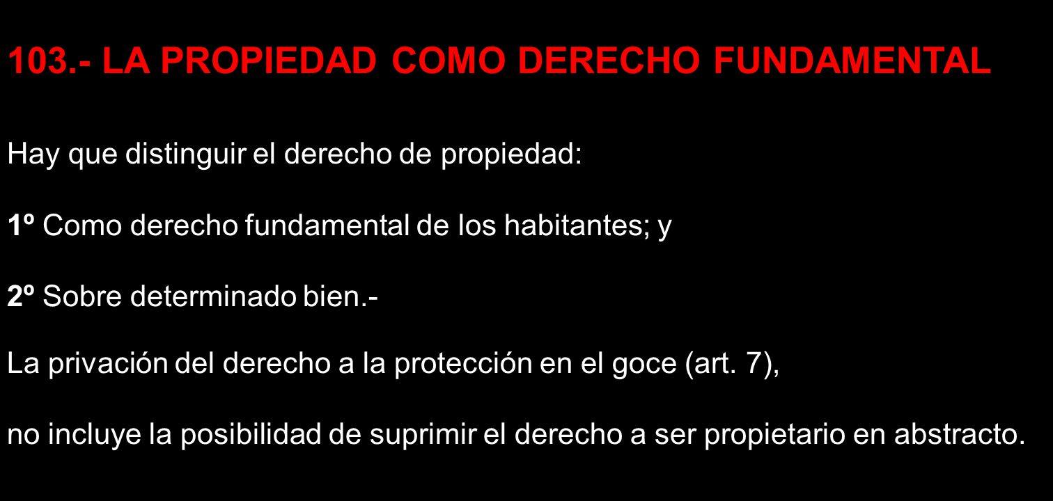 103.- LA PROPIEDAD COMO DERECHO FUNDAMENTAL