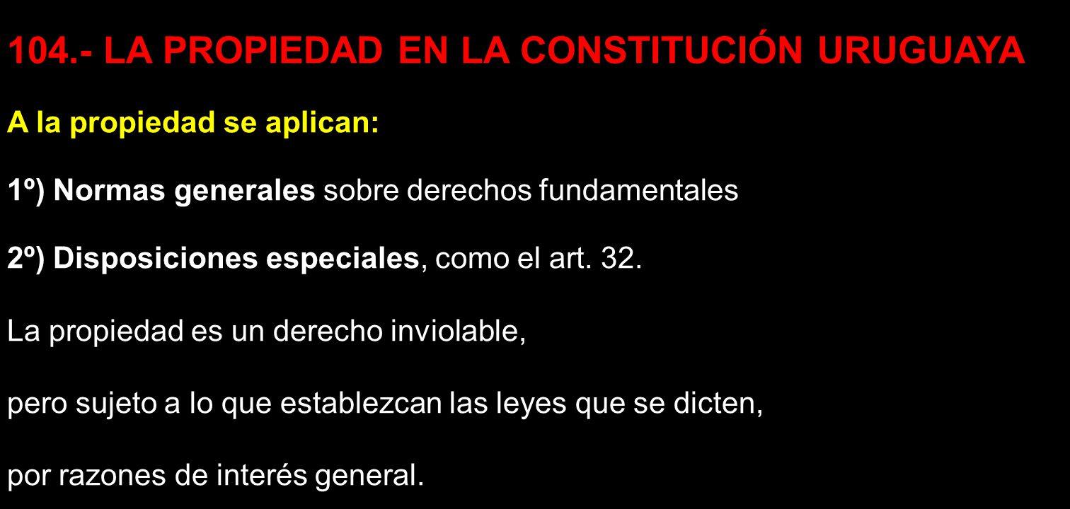 104.- LA PROPIEDAD EN LA CONSTITUCIÓN URUGUAYA