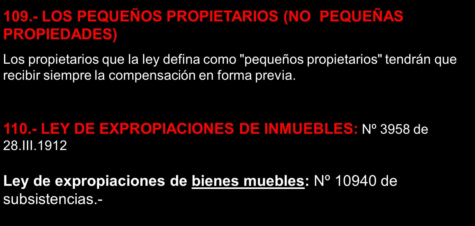109.- LOS PEQUEÑOS PROPIETARIOS (NO PEQUEÑAS PROPIEDADES)