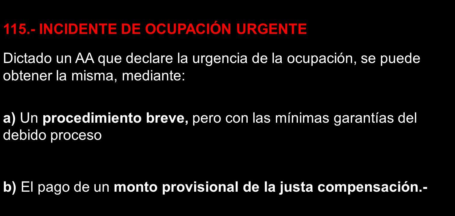 115.- INCIDENTE DE OCUPACIÓN URGENTE