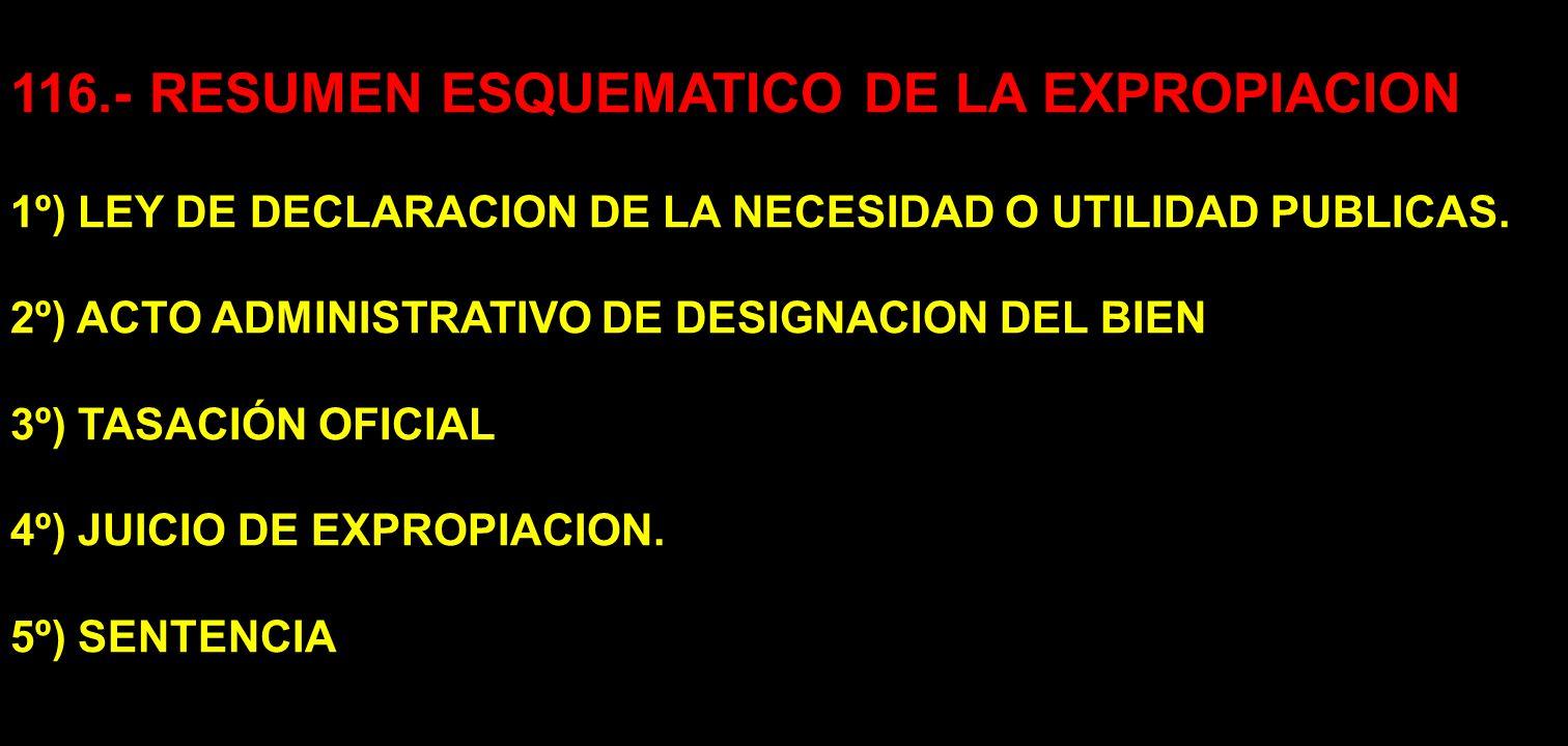 116.- RESUMEN ESQUEMATICO DE LA EXPROPIACION
