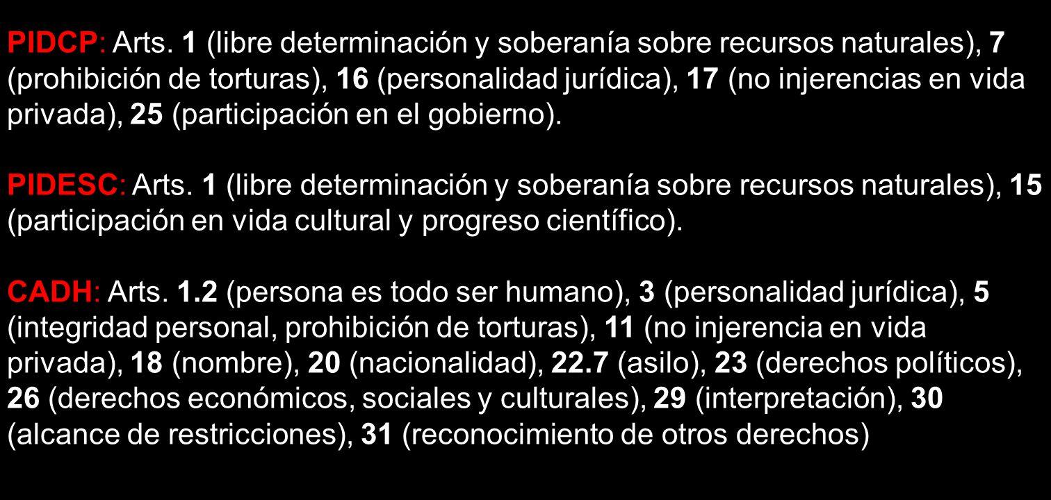PIDCP: Arts. 1 (libre determinación y soberanía sobre recursos naturales), 7 (prohibición de torturas), 16 (personalidad jurídica), 17 (no injerencias en vida privada), 25 (participación en el gobierno).
