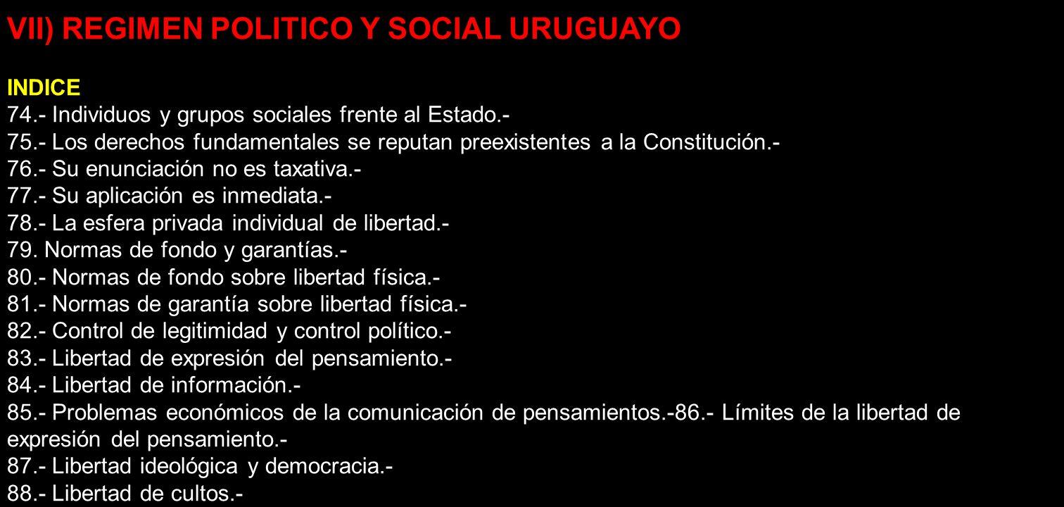 VII) REGIMEN POLITICO Y SOCIAL URUGUAYO