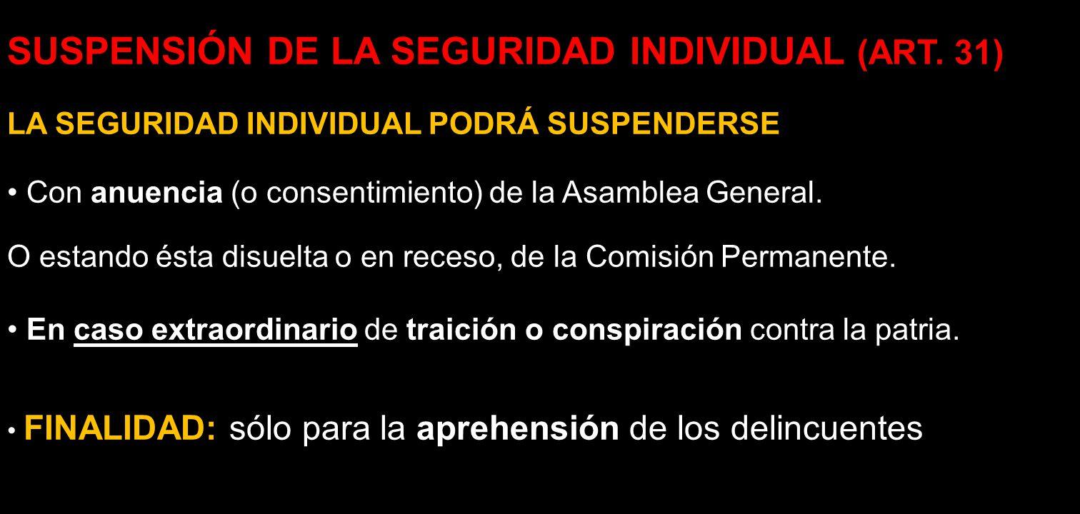 SUSPENSIÓN DE LA SEGURIDAD INDIVIDUAL (ART. 31)