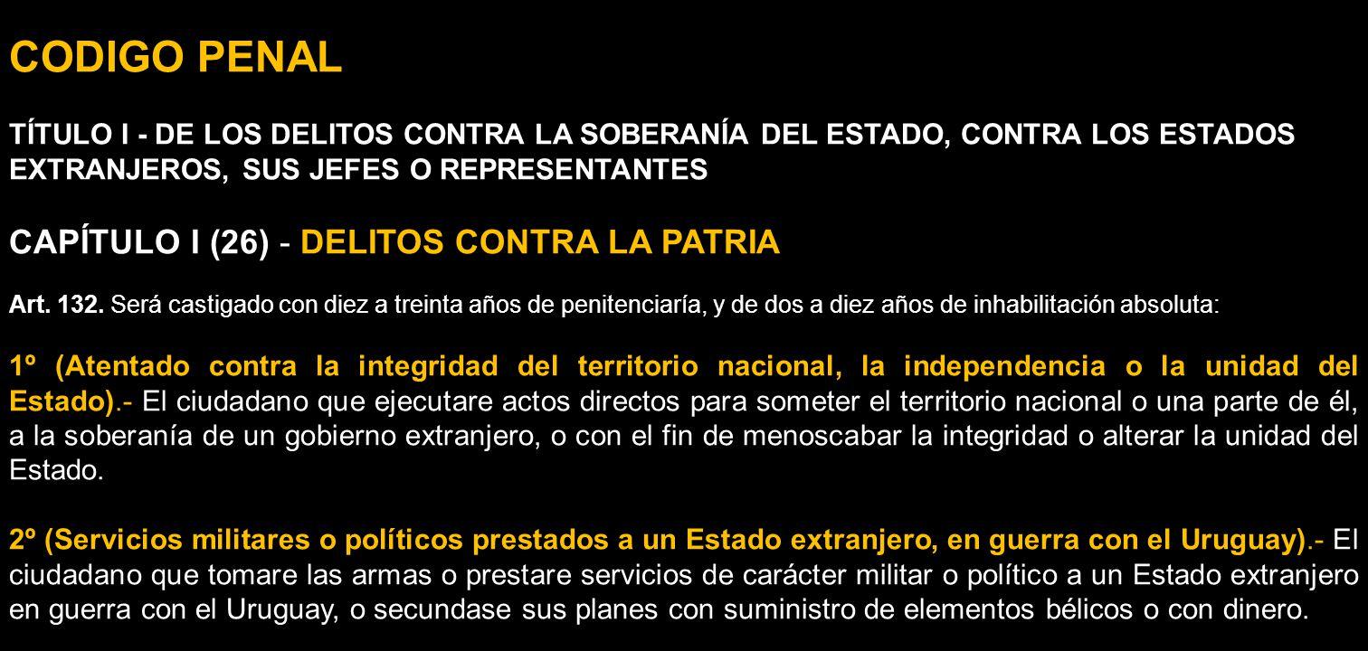 CODIGO PENAL CAPÍTULO I (26) - DELITOS CONTRA LA PATRIA