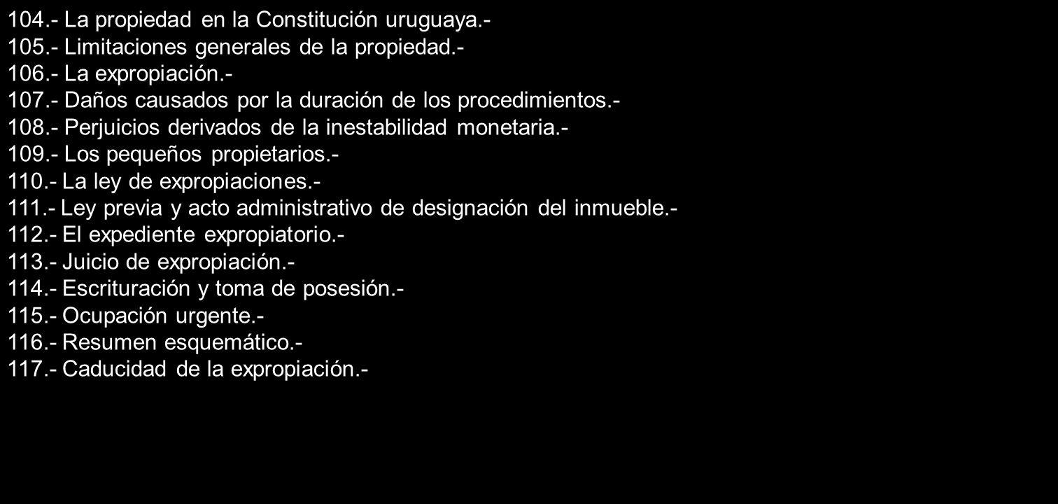 104.- La propiedad en la Constitución uruguaya.-
