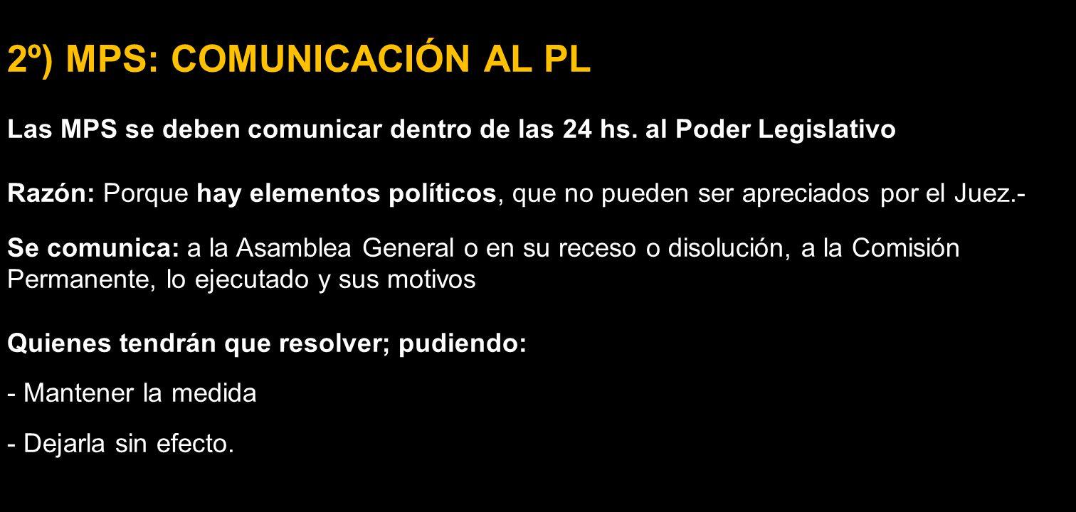 2º) MPS: COMUNICACIÓN AL PL