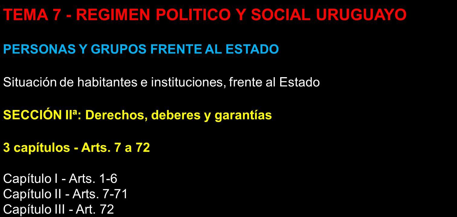 TEMA 7 - REGIMEN POLITICO Y SOCIAL URUGUAYO