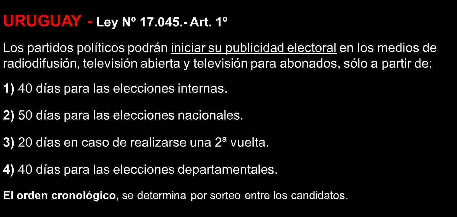 URUGUAY - Ley Nº 17.045.- Art. 1º