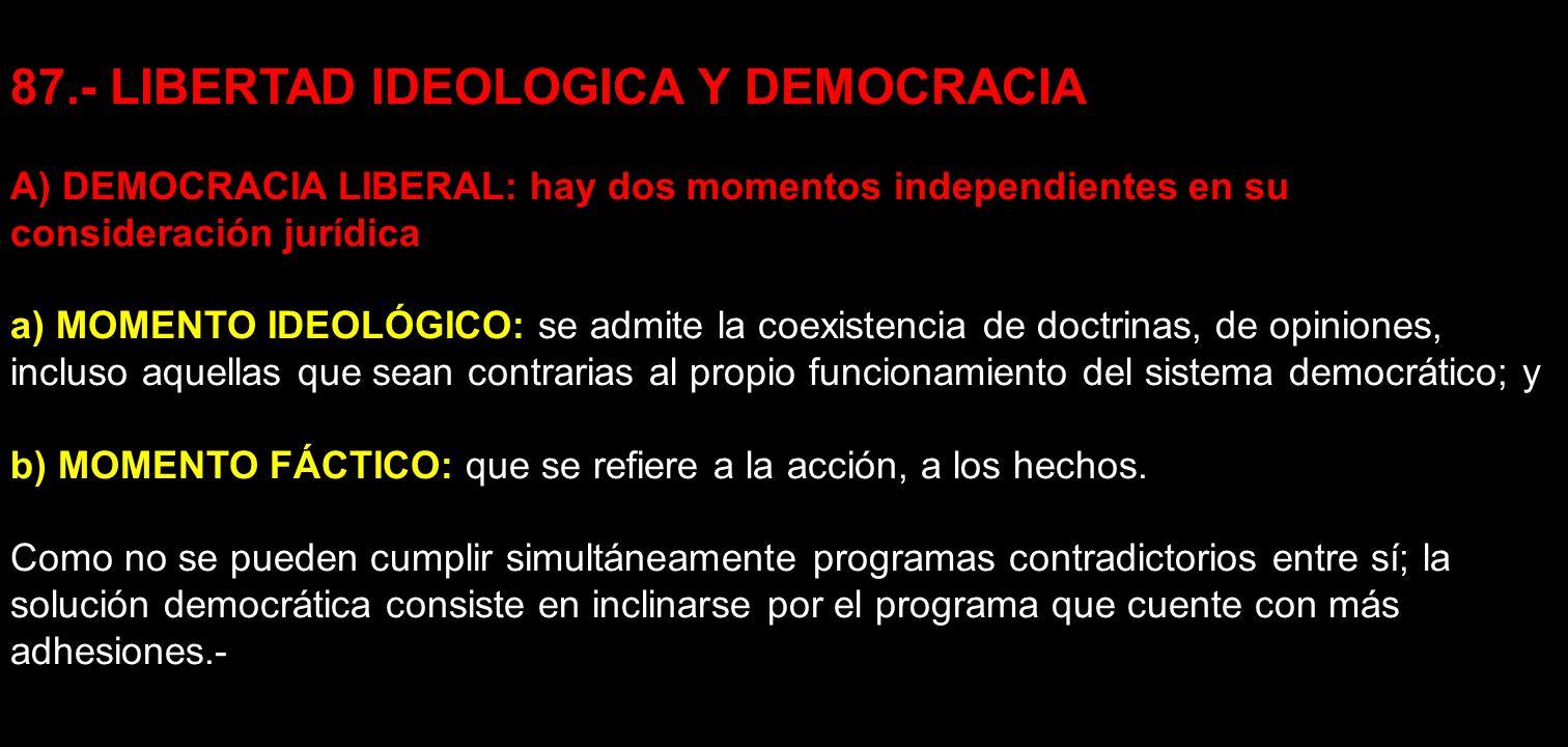 87.- LIBERTAD IDEOLOGICA Y DEMOCRACIA