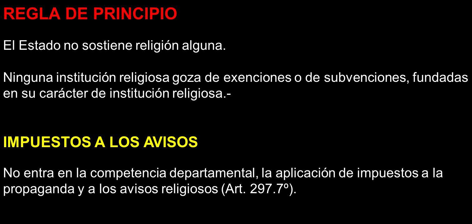 REGLA DE PRINCIPIO IMPUESTOS A LOS AVISOS