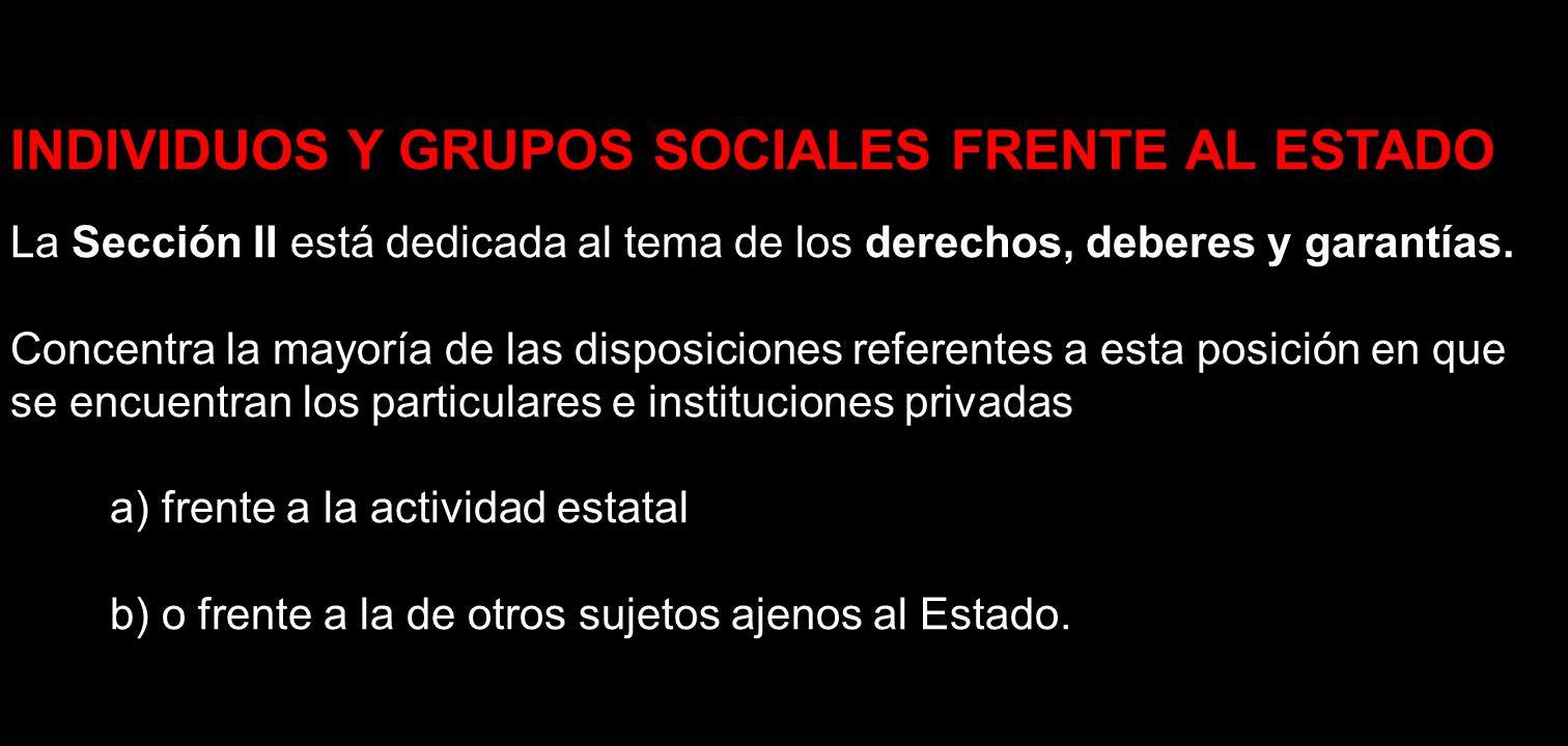 INDIVIDUOS Y GRUPOS SOCIALES FRENTE AL ESTADO