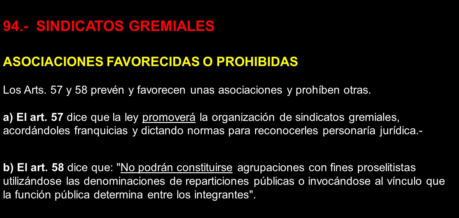 94.- SINDICATOS GREMIALES