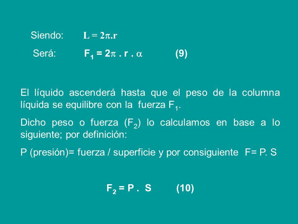 Siendo: L = 2.r Será: F1 = 2 . r .  (9)