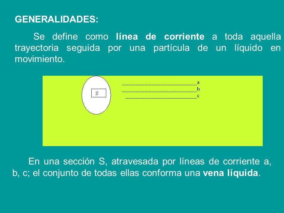 GENERALIDADES: Se define como línea de corriente a toda aquella trayectoria seguida por una partícula de un líquido en movimiento.