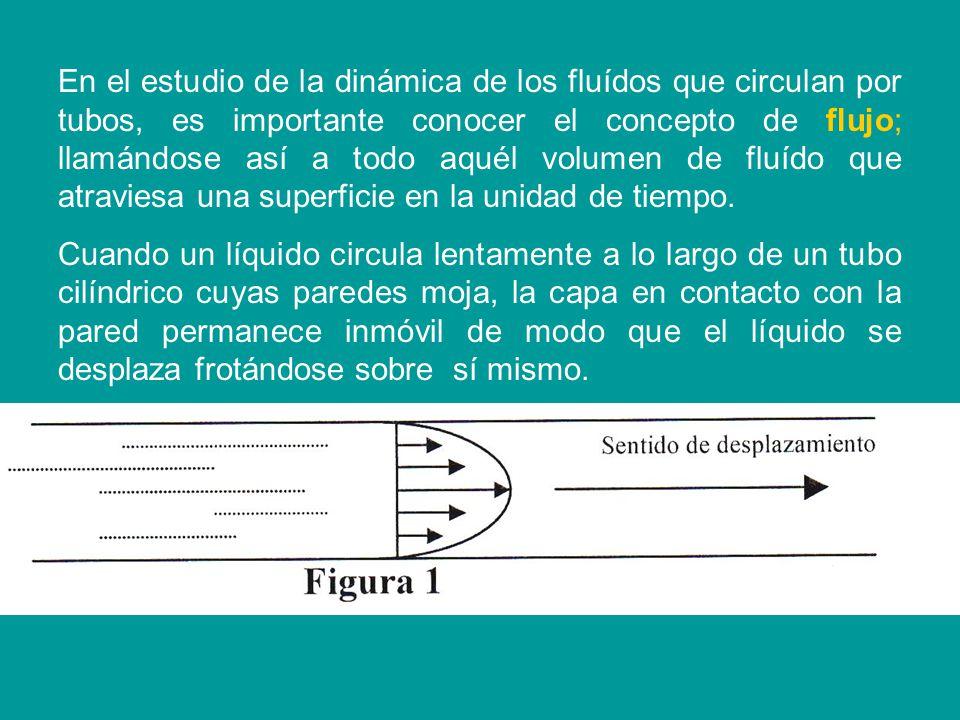 En el estudio de la dinámica de los fluídos que circulan por tubos, es importante conocer el concepto de flujo; llamándose así a todo aquél volumen de fluído que atraviesa una superficie en la unidad de tiempo.