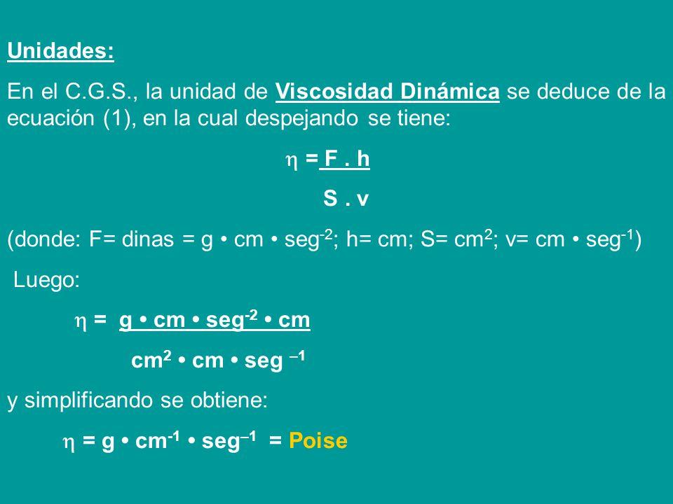 Unidades: En el C.G.S., la unidad de Viscosidad Dinámica se deduce de la ecuación (1), en la cual despejando se tiene: