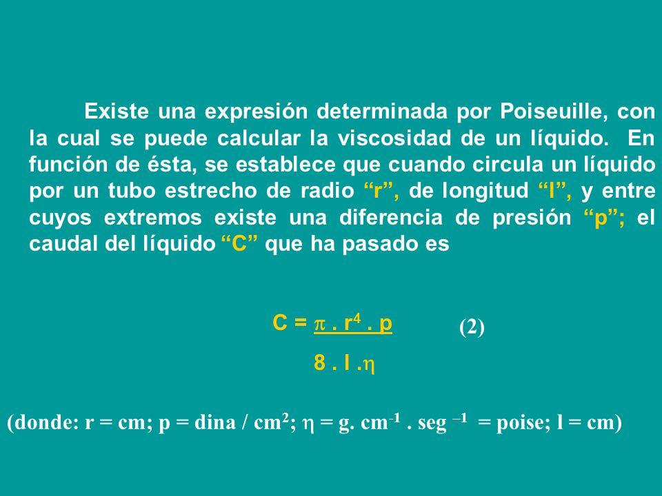 Existe una expresión determinada por Poiseuille, con la cual se puede calcular la viscosidad de un líquido. En función de ésta, se establece que cuando circula un líquido por un tubo estrecho de radio r , de longitud l , y entre cuyos extremos existe una diferencia de presión p ; el caudal del líquido C que ha pasado es