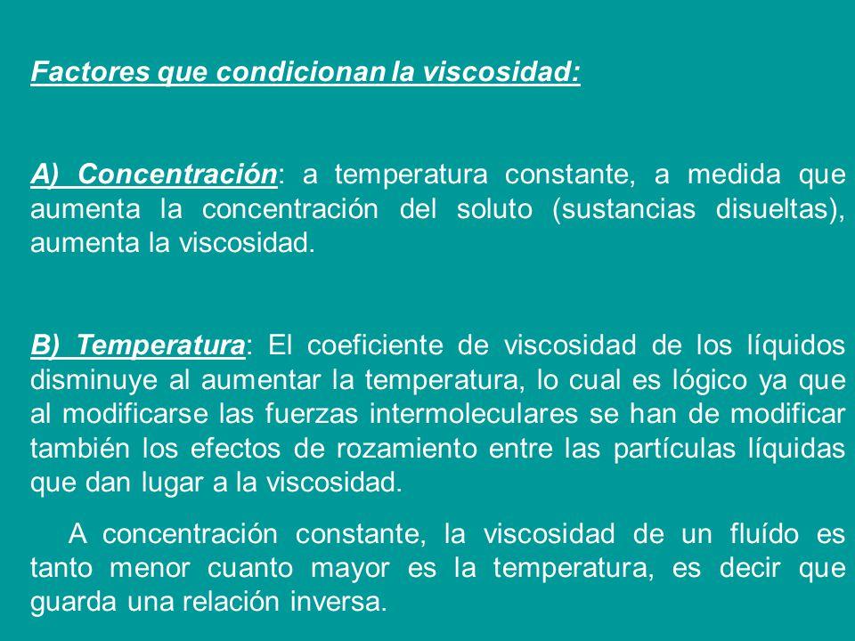 Factores que condicionan la viscosidad: