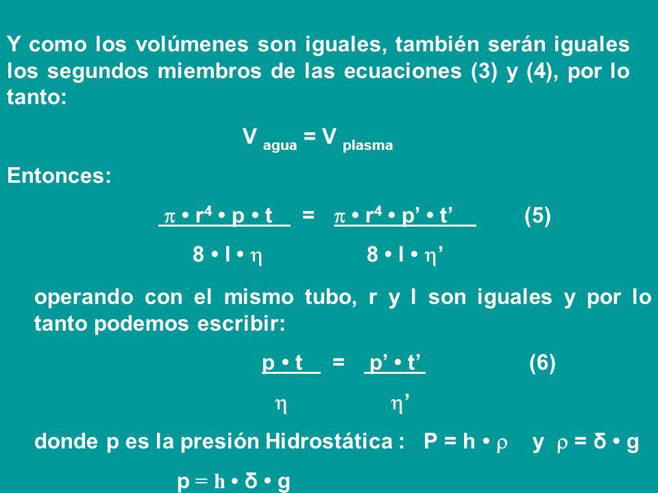 Y como los volúmenes son iguales, también serán iguales los segundos miembros de las ecuaciones (3) y (4), por lo tanto: