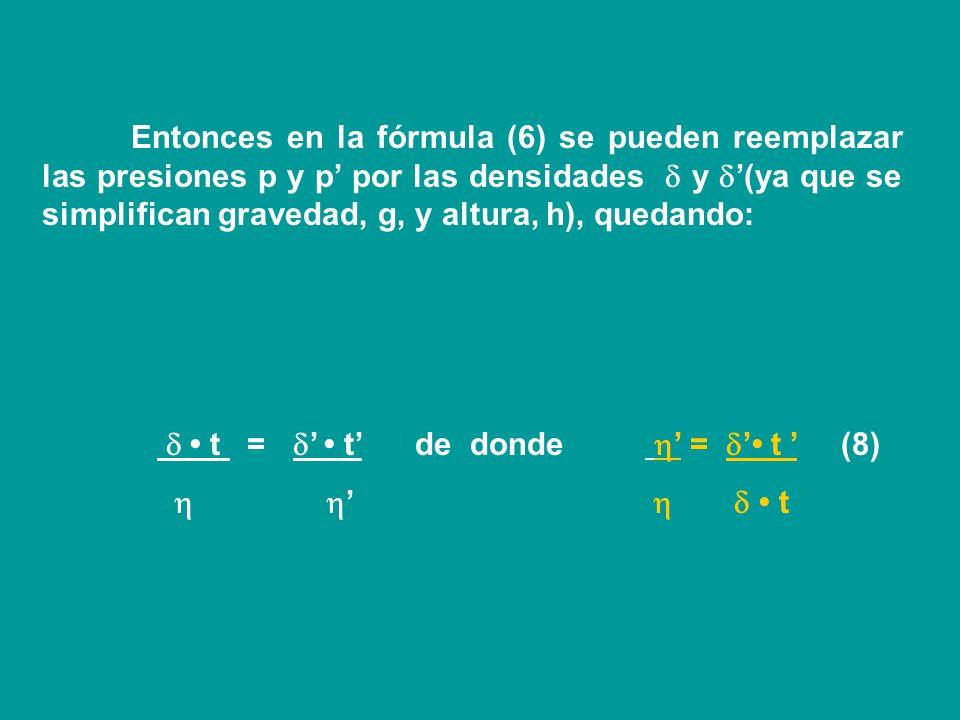 Entonces en la fórmula (6) se pueden reemplazar las presiones p y p' por las densidades  y '(ya que se simplifican gravedad, g, y altura, h), quedando: