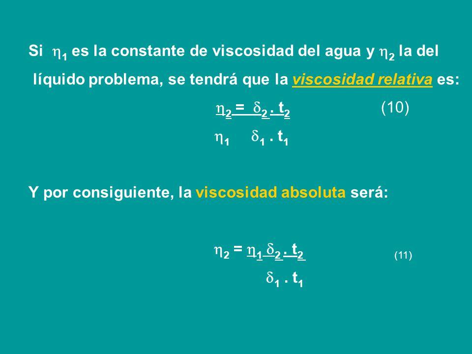 Si 1 es la constante de viscosidad del agua y 2 la del