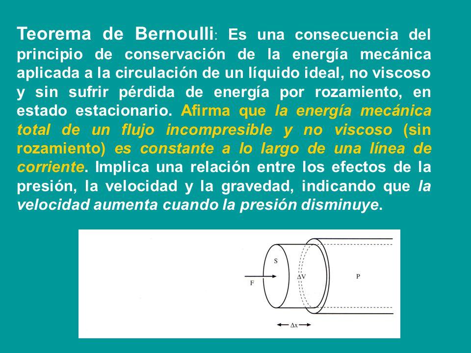 Teorema de Bernoulli: Es una consecuencia del principio de conservación de la energía mecánica aplicada a la circulación de un líquido ideal, no viscoso y sin sufrir pérdida de energía por rozamiento, en estado estacionario.