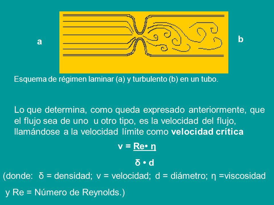 (donde: δ = densidad; v = velocidad; d = diámetro; η =viscosidad
