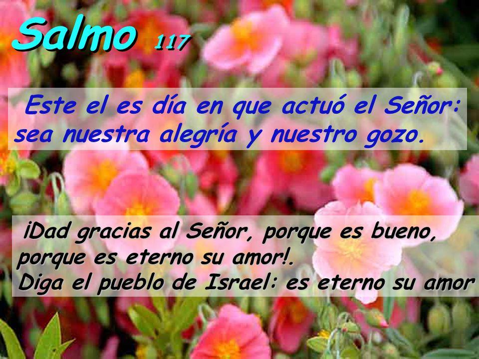 Salmo 117 Este el es día en que actuó el Señor: sea nuestra alegría y nuestro gozo.
