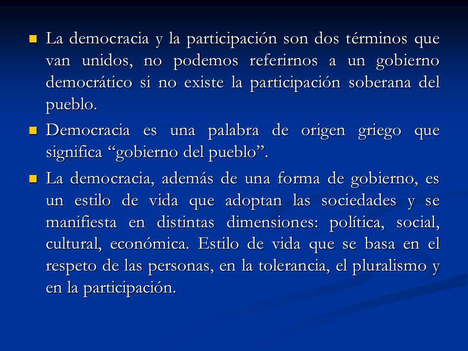 La democracia y la participación son dos términos que van unidos, no podemos referirnos a un gobierno democrático si no existe la participación soberana del pueblo.
