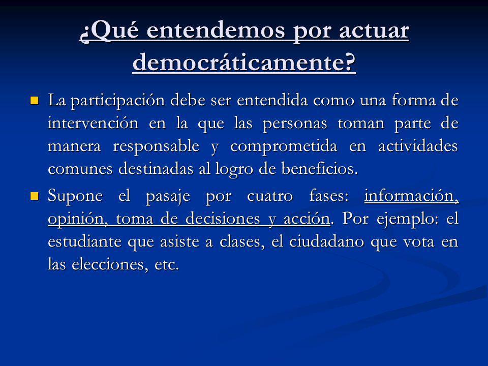 ¿Qué entendemos por actuar democráticamente