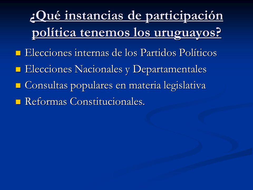 ¿Qué instancias de participación política tenemos los uruguayos