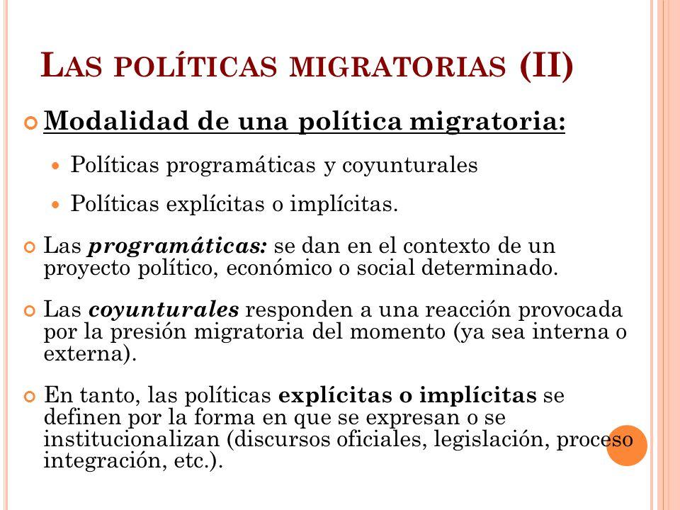Las políticas migratorias (II)