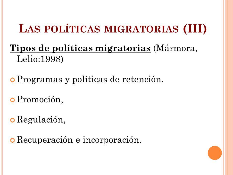 Las políticas migratorias (III)