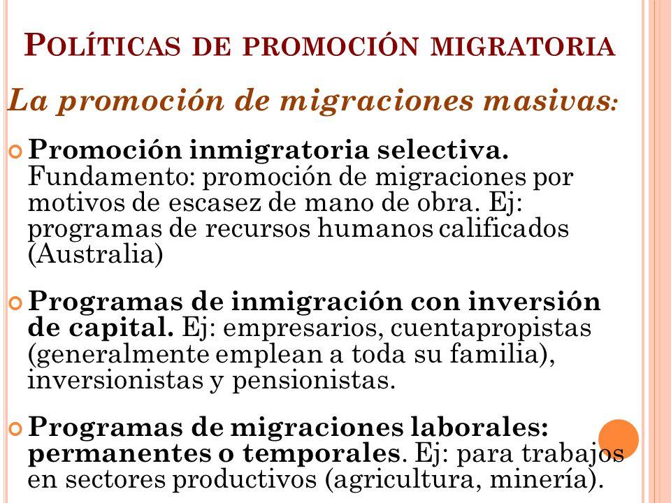 Políticas de promoción migratoria