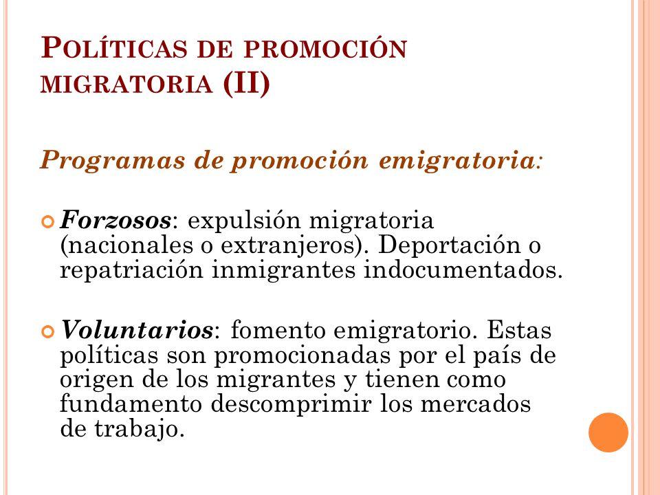 Políticas de promoción migratoria (II)