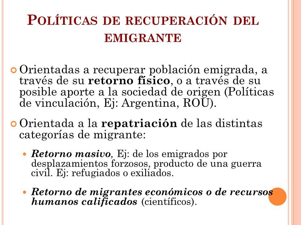 Políticas de recuperación del emigrante