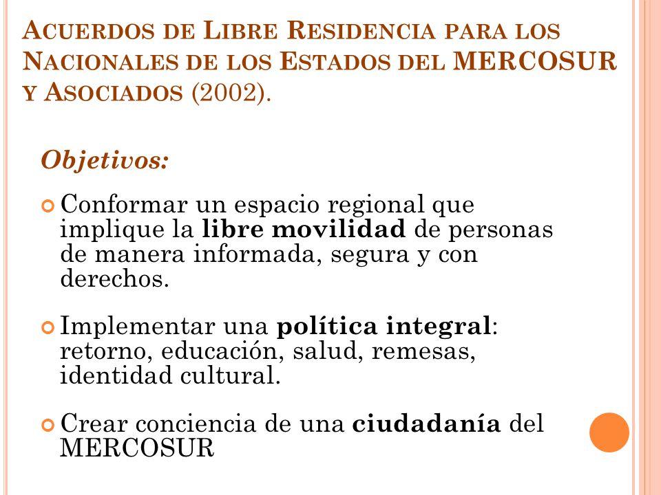 Acuerdos de Libre Residencia para los Nacionales de los Estados del MERCOSUR y Asociados (2002).